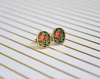 Red Rose Earrings - Vintage Enamel Earrings - Flower Enamel - Oval - Surgical Steel Earrings - Stud Earrings - Rose Jewelry