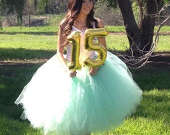 "Mint teen and adult tutu for waist up to 34 1/2"" great for Brides, bridal showers, birthdays, bachelorette parties and so much more"