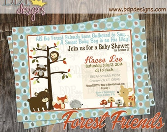 Forest Friends Woodland Baby Shower Invitation - Customized Digital Download OR Prints (Details Below)