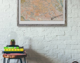 Wien old city map vintage poster ,Old City map poster, wall art,Vintage city map poster, Giclee city TVH231WA3