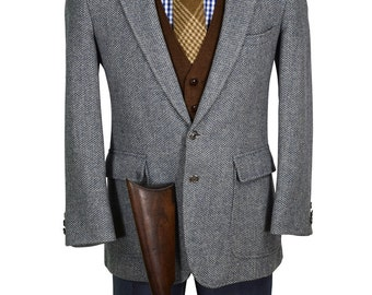 Fashionable 40S Blue Gray Patch Pocket Men's Vintage Tweed Blazer