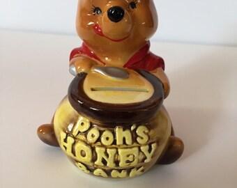 Vintage Winnie the Pooh Walt Disney Productions Honey Pot Kids Children's Money Bank Made in Japan Pooh Bear