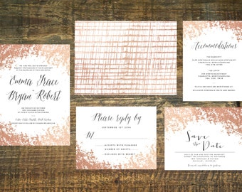 Rose Gold Foil Wedding Invitation Suite (Set of 25) | Wedding Invitation Set, Wedding Invitations, Blush, Gold, Invitation
