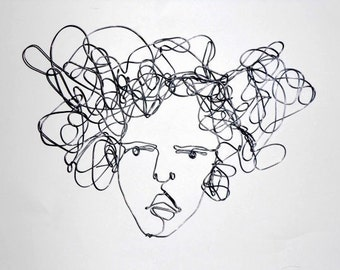 Wire wall art - Woman Face Portrait  -  My thoughts whisk around - Gift idea for creative guys - Big hair