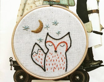 hand embroidery kit | embroidery kit | modern embroidery kit | DIY embroidery | foxy night
