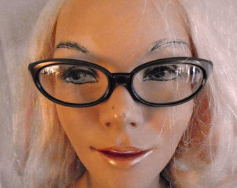 Vintage Cateye Glasses 1950's Gold and Black Glasses Vintage Eyeglasses