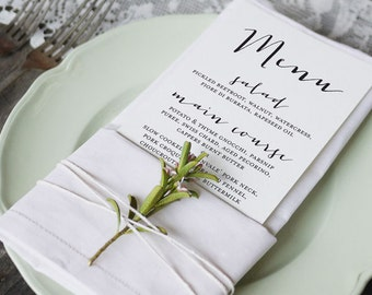 Modern Calligraphy 4 Wedding Menu Printable
