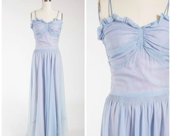 Vintage 1940s Gown • Song Bird • Slate Blue Silk Chiffon 40s Full Length Dress Size Small