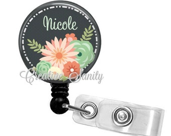 Personalized Retractable Badge Holder, Flowers Forever2, Choice of Badge Reel, Carabiner, Lanyard or Stethoscope ID Tag