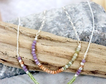 Adjustable Purple Chalcedony, Orange Sunstone, and Green Cats Eye Gemstone Beaded Sterling Silver Chain