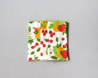 Set of Four Vintage Vera Neumann Napkins - Fruit / Ladybug Design