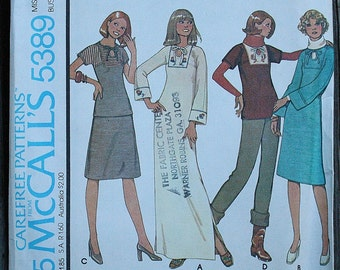 McCall 5389 1970s 70s Keyhole Shirt Blouse Tunic Dress Midi Maxi Vintage Sewing Pattern Size 10 Bust 32.5