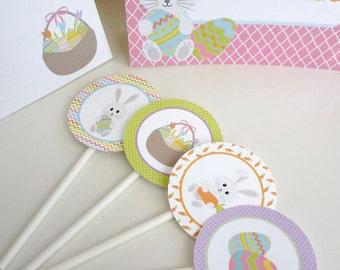 DIGITAL DOWNLOAD Easter Cupcake Toppers Digital Download Bunny Eggs Baskets Egg Hunt
