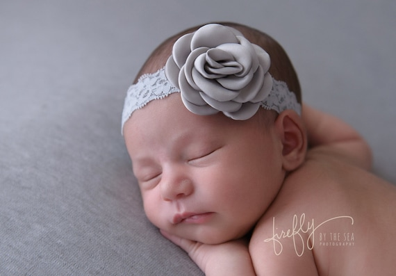Pretty 2.25 inch grey satin rose flower on stretch lace, just perfect for a newborn, photo shoots or everyday, Lil Miss Sweet Pea