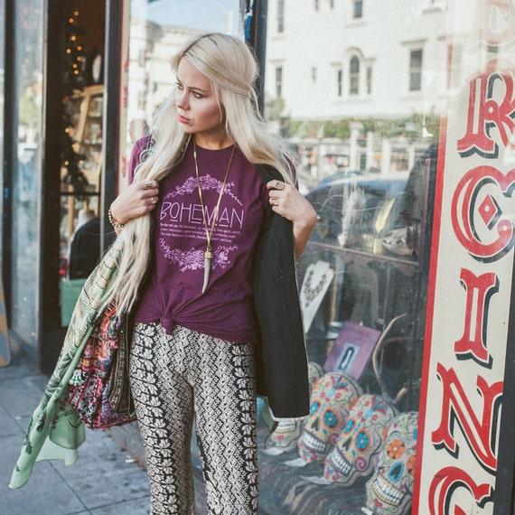 Bohemian definition shirt xs burgundy bohemian shirt boho for Define boho fashion