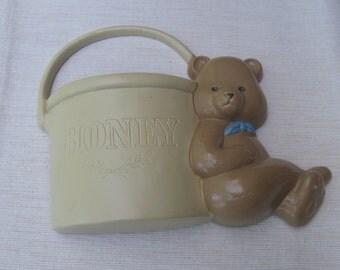 Bear Wall Pocket,  Vintage Burwood, Wall Decor, Brown Bear Honey Pot, Wall Art, Vintage 1990, Made in USA, Nursery Wall Decor MyVintageTable