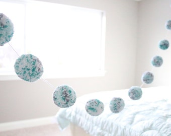 MINT + GREY + WHITE pom pom garland - a sweet mix of confetti pom poms with mint + aqua + grey + white yarn