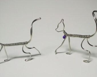 Walking Cat Figure, silver tone wire