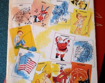 vintage 50s kids magazine Through the Year with Childcraft from 1954