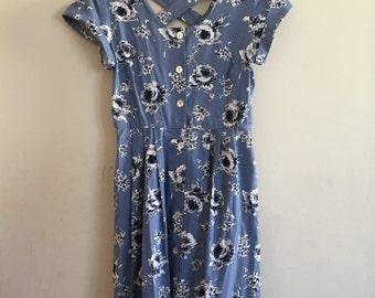 Vintage 1980s Blue Floral Cotton Dress Small Medium