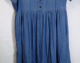 "Long Denim Dress Maxi Blue Jean Modest Casual 12 ladies ""All Week Long"" COTTON Vintage"