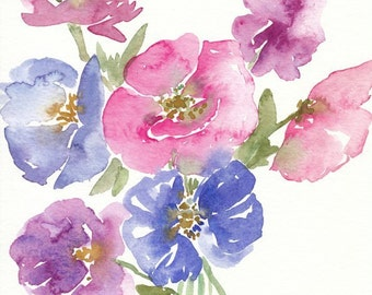 Watercolor Poppy Painting, pink and purple, original artwork, 8x10, watercolor flowers, spring decor, floral painting, poppies, pink flowers