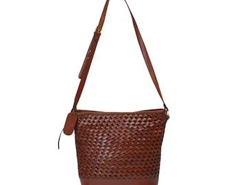 Vintage Etienne Aigner Handbag // Braided Adjustable Cross-body Shoulder Bag // Brown Basket-weave Woven Leather Purse with Adjustable Strap