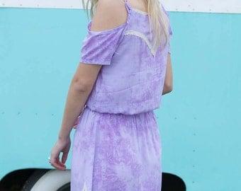 Summer of Love Dress Lilac- Fashion Boho Bohemian Festival Tribal Gypsy Designer Tie Dye Hippie