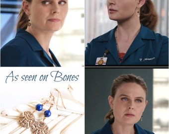 As seen on Bones , As seen on Dr Brennan , Emily Deschanel , Bronze and Lapis Lazuli Earrings , Lapis Lazuli earrings , Tribal earrings