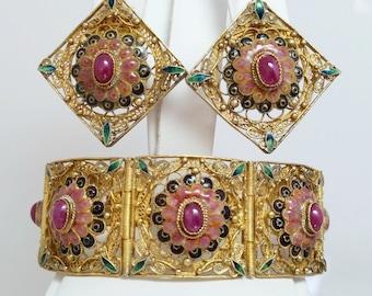 STUNNING Antique Demi Parure Ruby & Enamel Gold Guilt Sterling 925 Chinese Import Bracelet and Earrings SET
