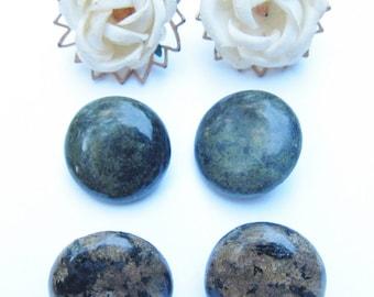Vintage Earring Lot 2 Pr Marble Agate & Fabric Flowers