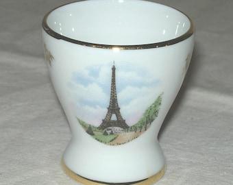 Limoges France Porcelain Egg Cup Eiffel Tower French Paris Tour Eiffel Gold Trim