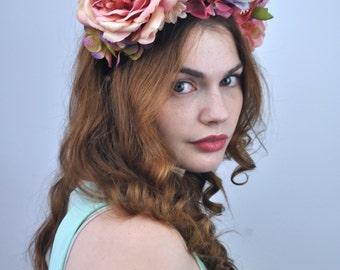 Bella - Pink Flower Headband | Pink Flower Crown | Floral Headpiece | Peony Headband | Peony Flower Crown | Bridal Headpiece