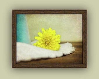 Rustic Cottage Chic Still Life Yellow Dandelion Flower Weed Yellow Blue White Brown Fine Art Photography Print