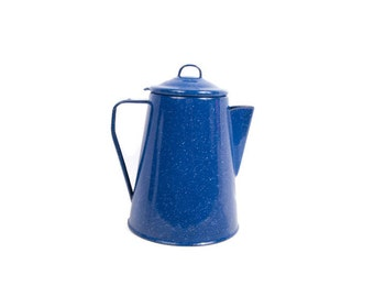 Vintage Blue Enamelware Pitcher Coffee Pot Camping Royal Blue Speckled Enamel Jug Farmhouse Cottage Kitchen Decor
