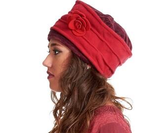 Fleece and velvet BEANIE HAT, CLOCHE hat with flower corsage, Vfharf