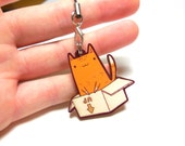 cute box cat wooden charm 1.5 inch - wooden jewelry, keychain, pets, pendant, accessories, illustrated jewelry