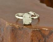 2 Carat Rough Diamond 14k White Gold Ring with Branch Band