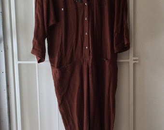 1980's western style jumpsuit m/l / vintage brown studded romper