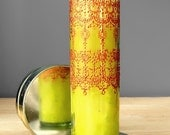 Moroccan Wedding Candle, Prayer Candle, Bohemian Wedding Unity Candle, Lemon Yellow Tinted Glass and Copper Henna Design