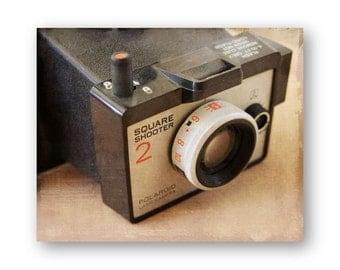 Vintage Instant Camera Photo Art, Polaroid Camera still life decor, Camera Collector Decor, Spartus Camera photo, Brownie Hawkeye Print