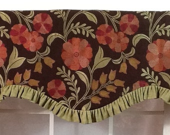 Floral toss ruffled shaped valance