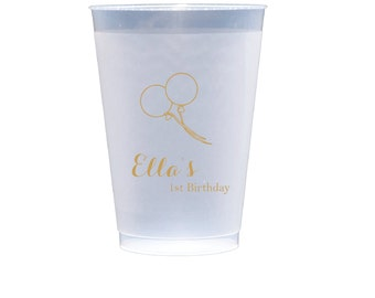 Balloon Personalized First Birthday Party Cups