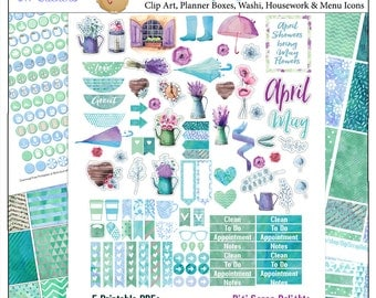 Planner Kit! Spring Watercolor Sticker Kit  5 PDF, 300 French Provence Stickers Watercolor EC Happy Planner Umbrella Rain