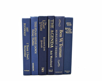 Blue Books, Decorative Books, Old Book Set, y,  Book Collection, Interior Design, Home Decor Interior Design BOok Stack
