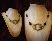 Hollow cameo necklace with rosary style gilt black crystal and chain ~ Romantic revival ~ Wiccan ~ Neo Pagan ~ Ceremony
