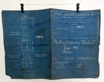 French industrial engineering blueprint, circa 1930s. Wonderful dark teal colour. Size: 16.2 x 11 inches, 412 x 280 mm. Gift for guys.