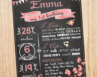 First Birthday Chalkboard girl printable poster chalk board DIY digital customizable pink print