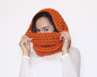 Classic Chunky Wool Blend Cowl in Pumpkin Orange, cowl, neck warmer, chunky cowl, crochet scarf, orange