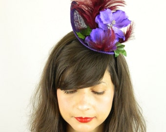 Fascinator Headpiece Feathered with Purple Blue Orchid, Feathers and Leaves - Statement Piece Cocktail Party Hat